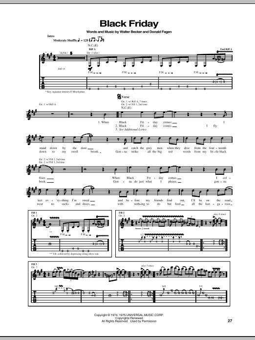 Steely Dan Black Friday sheet music notes printable PDF score