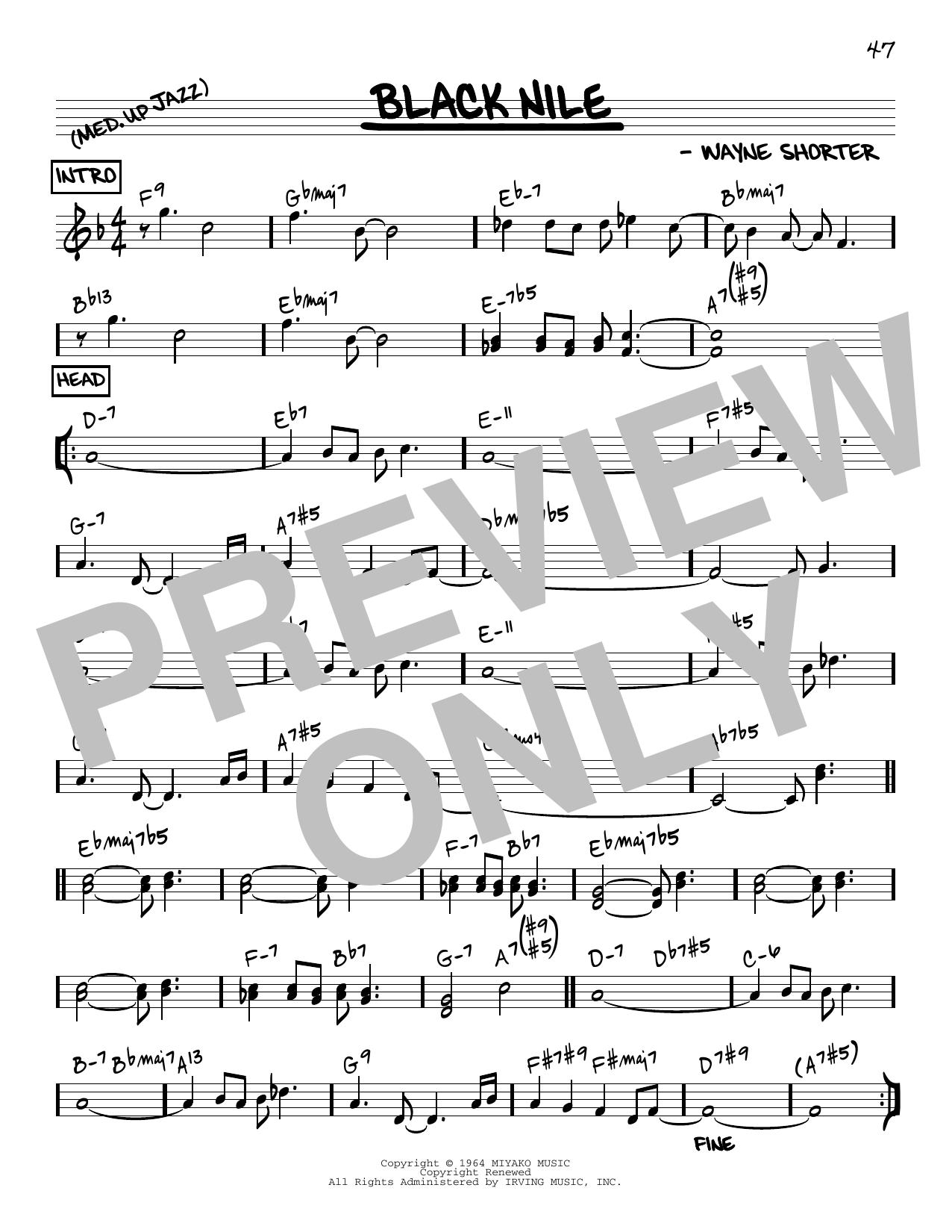 Wayne Shorter Black Nile [Reharmonized version] (arr. Jack Grassel) sheet music notes printable PDF score