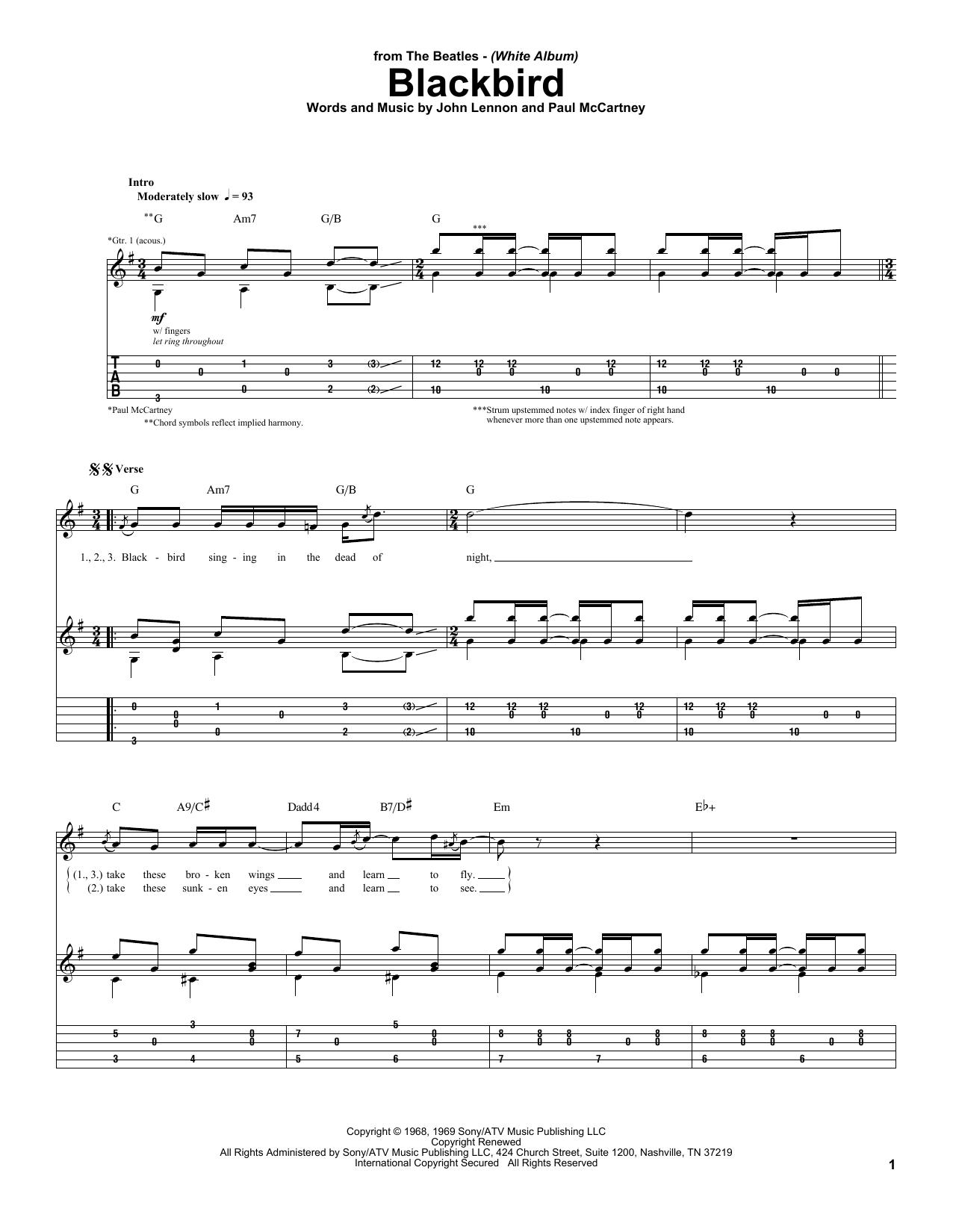 The Beatles Blackbird sheet music notes printable PDF score
