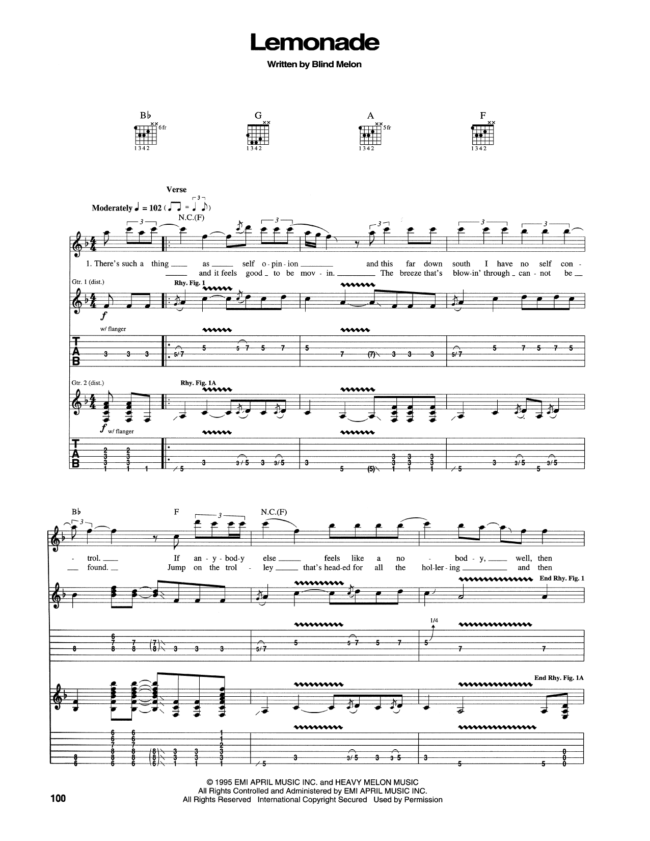 Blind Melon Lemonade sheet music notes and chords. Download Printable PDF.