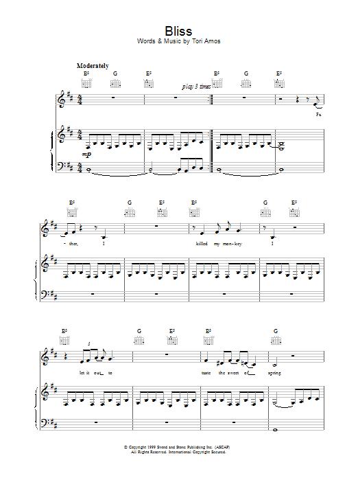 Tori Amos Bliss sheet music notes printable PDF score