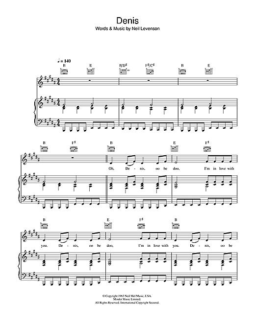 Blondie Denis sheet music notes printable PDF score