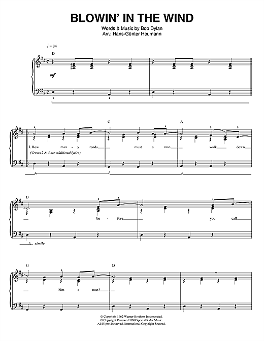 Bob Dylan Blowin' In The Wind sheet music notes printable PDF score