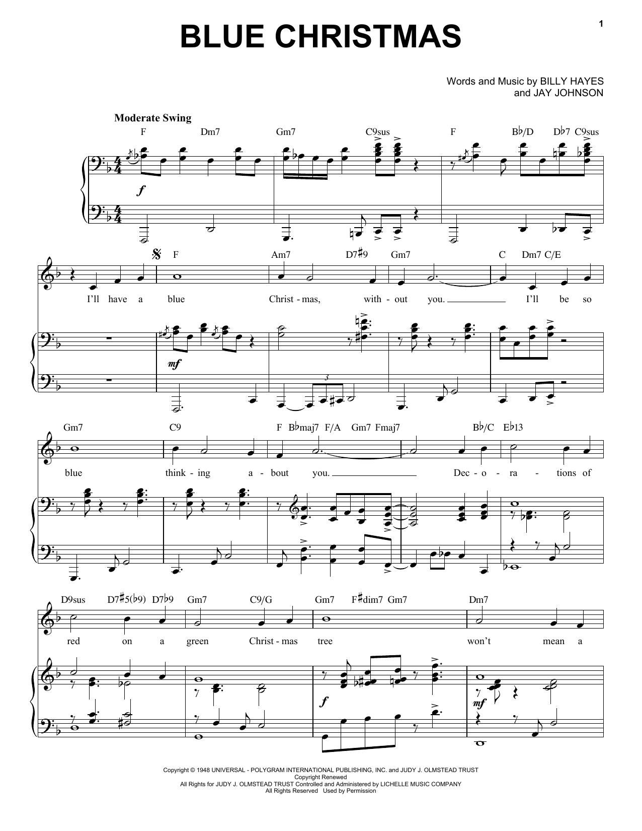 Elvis Presley Blue Christmas [Jazz Version] (arr. Brent Edstrom) sheet music notes printable PDF score