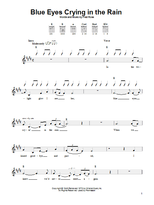 Willie Nelson Blue Eyes Crying In The Rain sheet music notes printable PDF score