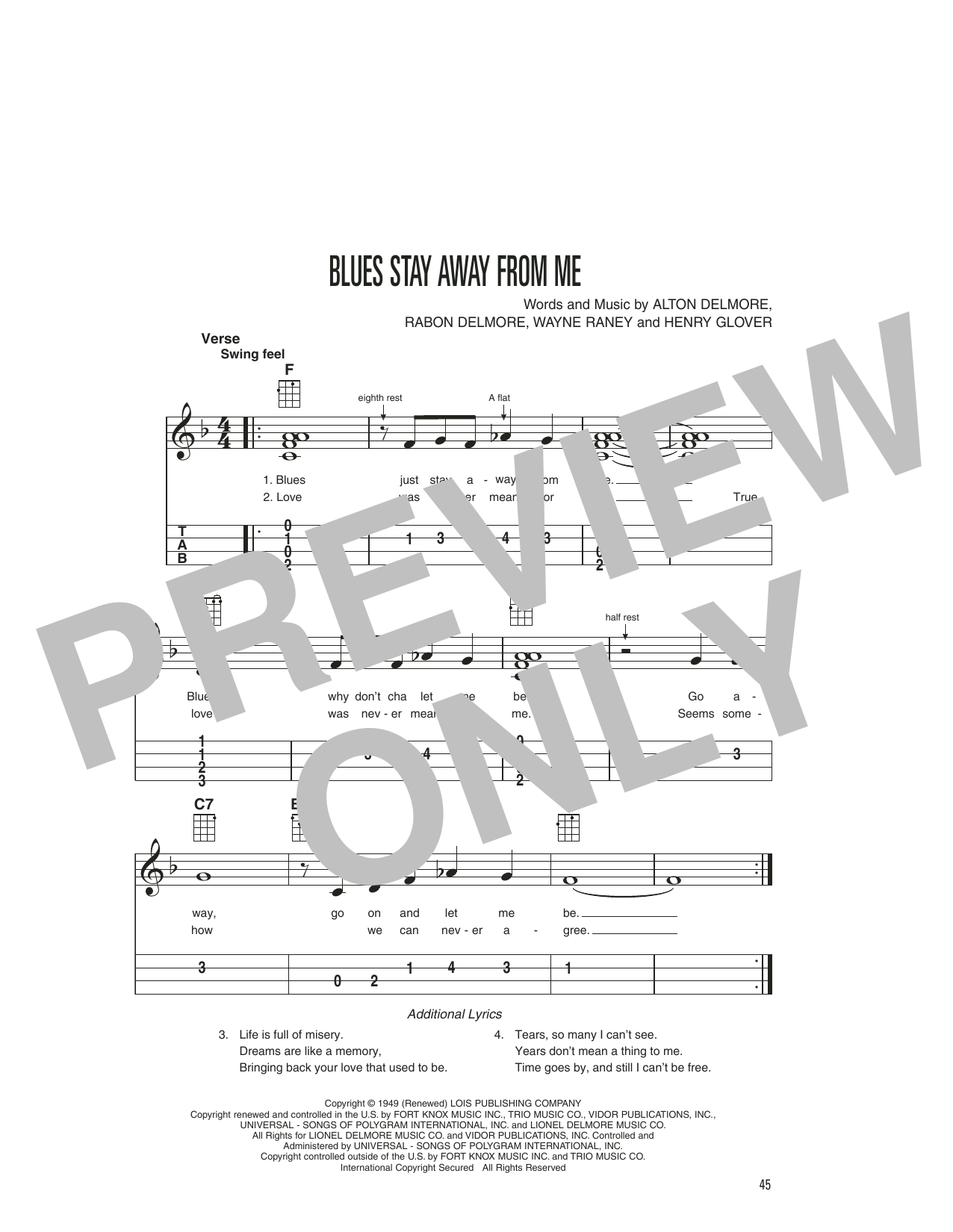 Delmore Brothers Blues Stay Away From Me sheet music notes printable PDF score