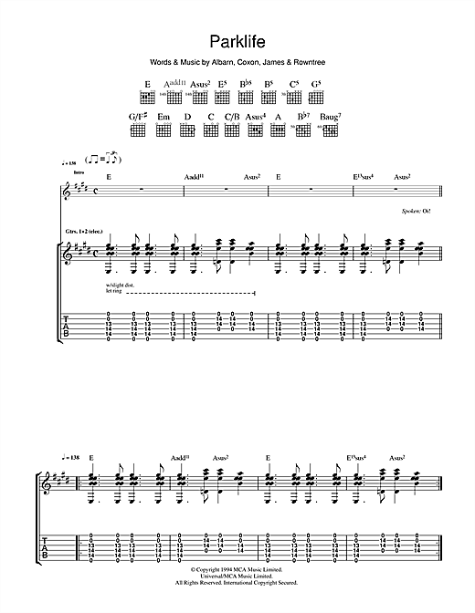 Blur Parklife sheet music notes printable PDF score
