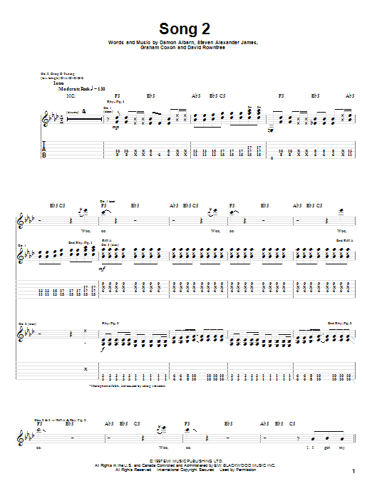 Blur Song 2 sheet music notes and chords. Download Printable PDF.