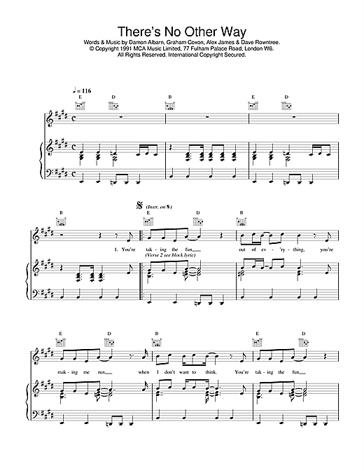 Blur There's No Other Way sheet music notes printable PDF score