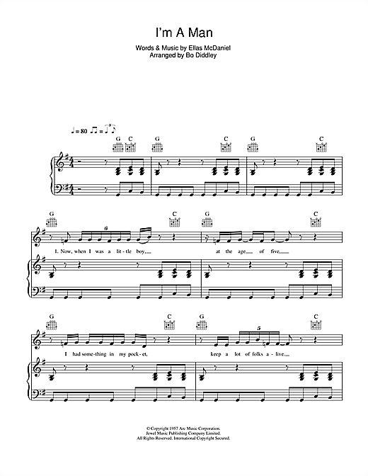 Bo Diddley I'm A Man sheet music notes and chords. Download Printable PDF.
