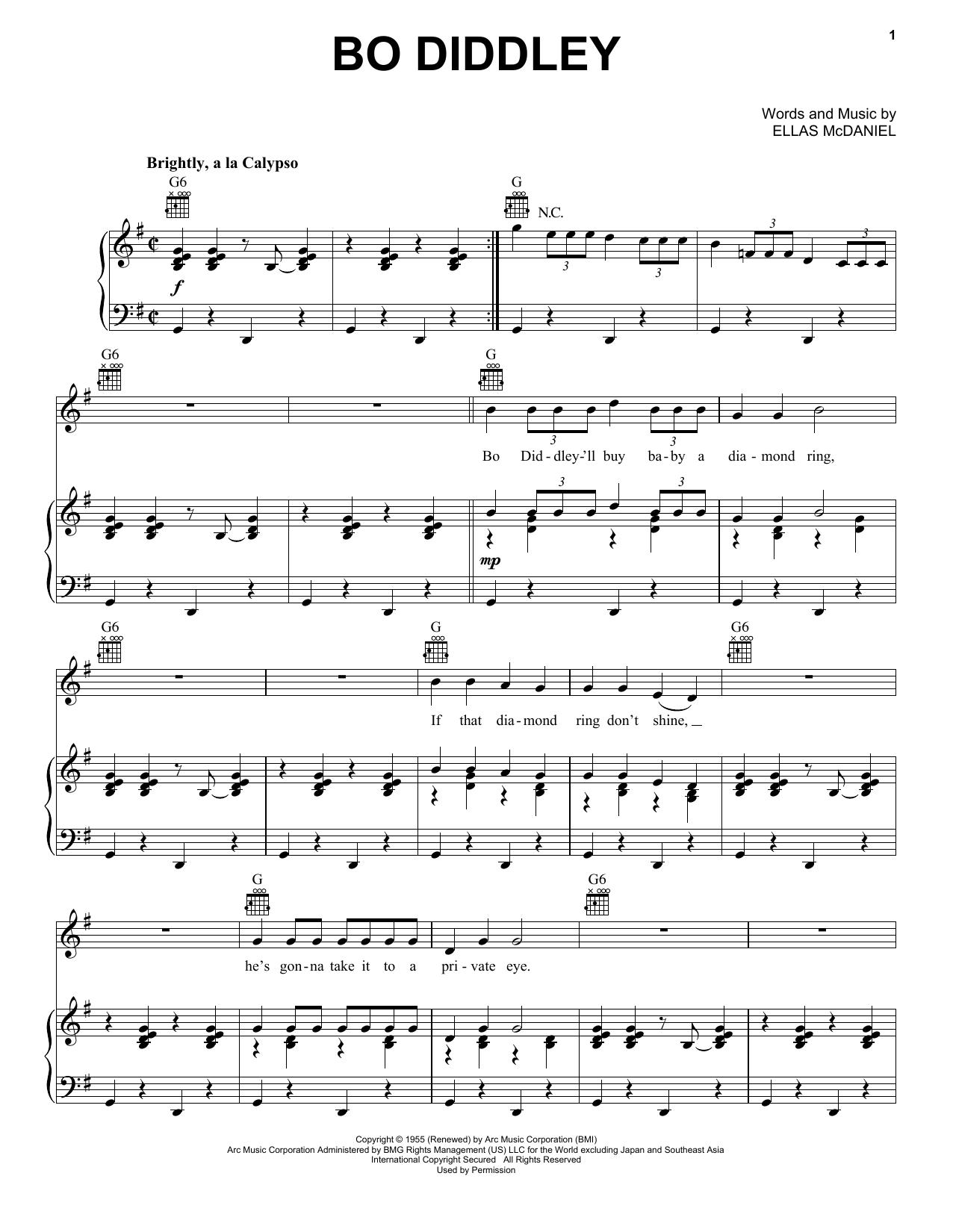 Bo Diddley Bo Diddley sheet music notes printable PDF score