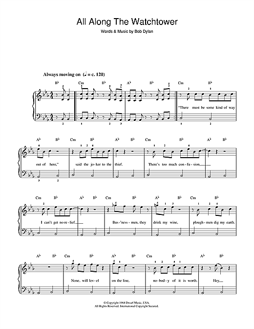 Bob Dylan All Along The Watchtower sheet music notes and chords. Download Printable PDF.