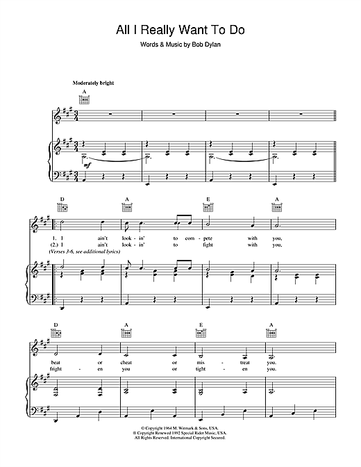 Bob Dylan All I Really Want To Do sheet music notes printable PDF score