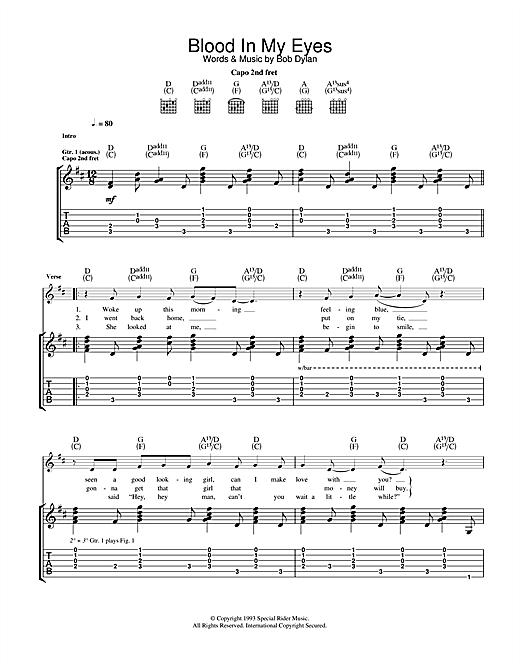 Bob Dylan Blood In My Eyes sheet music notes and chords. Download Printable PDF.