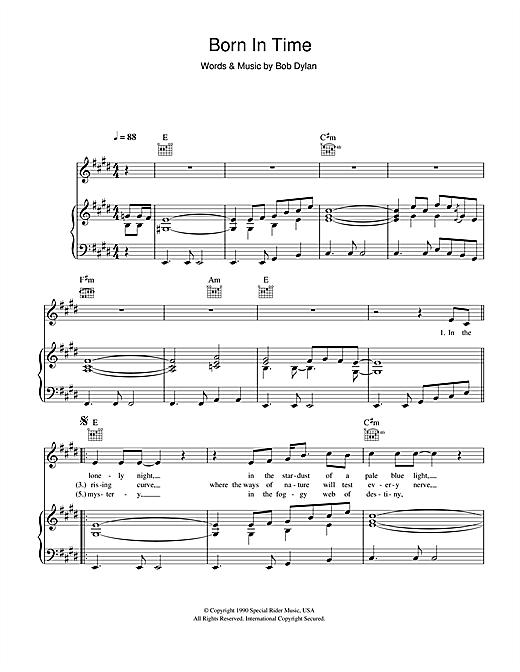 Bob Dylan Born In Time sheet music notes printable PDF score