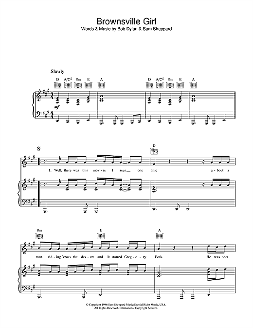 Bob Dylan Brownsville Girl sheet music notes printable PDF score