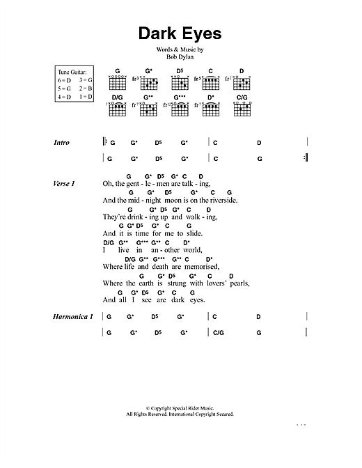 Bob Dylan Dark Eyes sheet music notes and chords. Download Printable PDF.