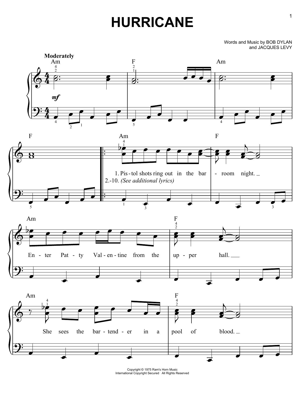 Bob Dylan Hurricane sheet music notes printable PDF score