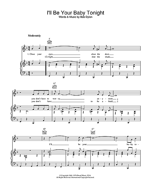 Bob Dylan I'll Be Your Baby Tonight sheet music notes printable PDF score