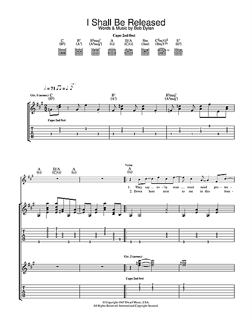 Bob Dylan I Shall Be Released sheet music notes printable PDF score