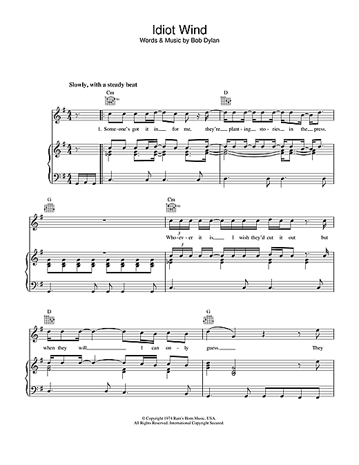 Bob Dylan Idiot Wind sheet music notes printable PDF score