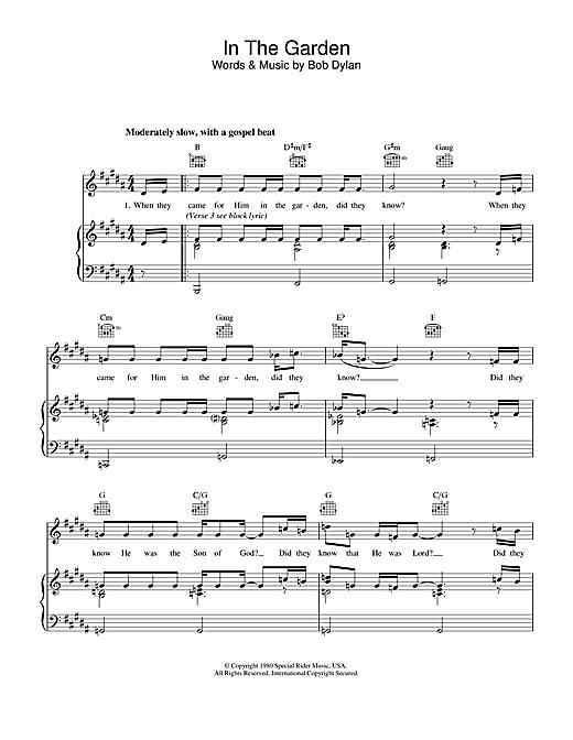 Bob Dylan In The Garden sheet music notes printable PDF score