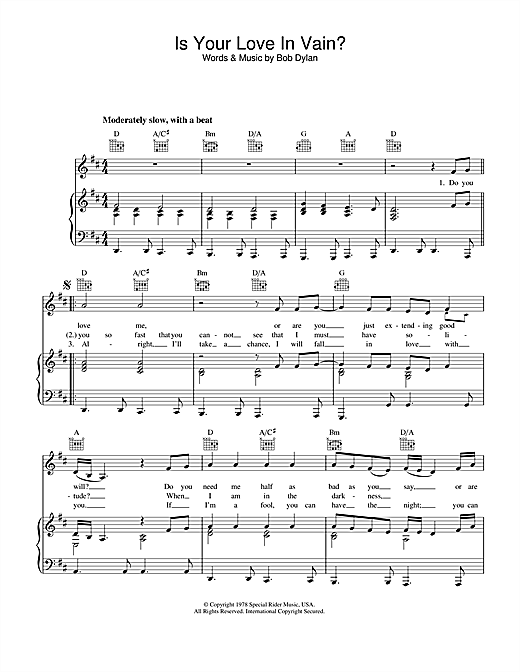 Bob Dylan Is Your Love In Vain sheet music notes printable PDF score