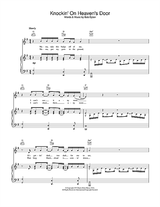 Bob Dylan Knockin' On Heaven's Door sheet music notes and chords - download printable PDF.