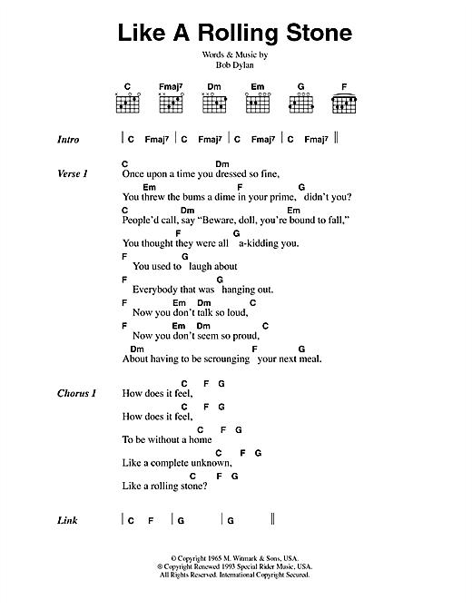 Bob Dylan Like A Rolling Stone sheet music notes printable PDF score