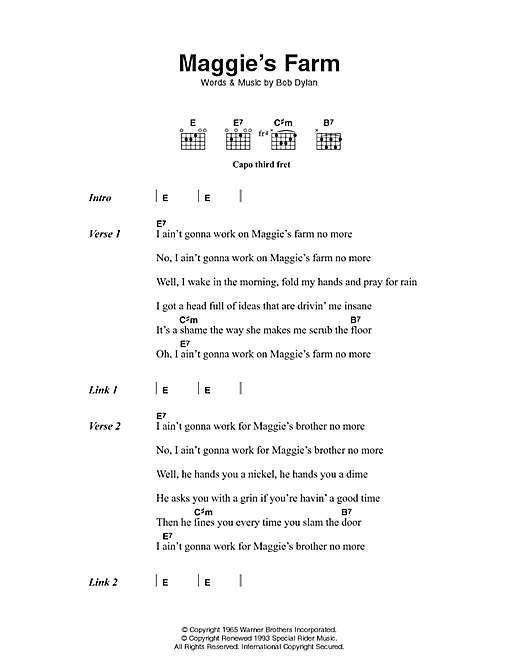 Bob Dylan Maggie's Farm sheet music notes and chords. Download Printable PDF.