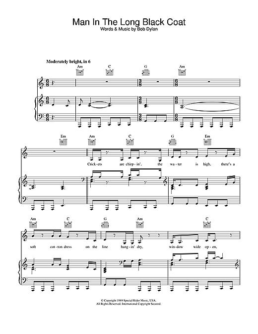 Bob Dylan Man In The Long Black Coat sheet music notes printable PDF score