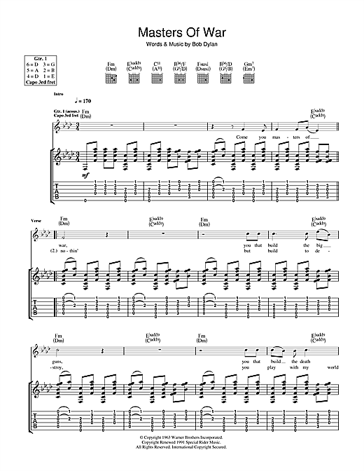 Bob Dylan Masters Of War sheet music notes and chords. Download Printable PDF.
