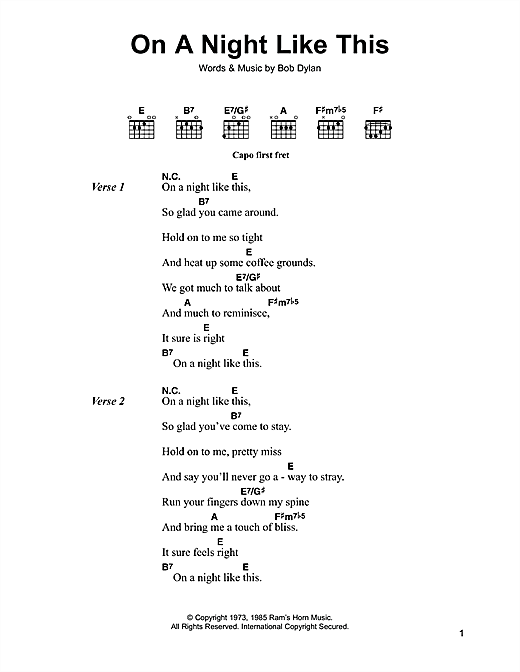 Bob Dylan On A Night Like This sheet music notes and chords. Download Printable PDF.
