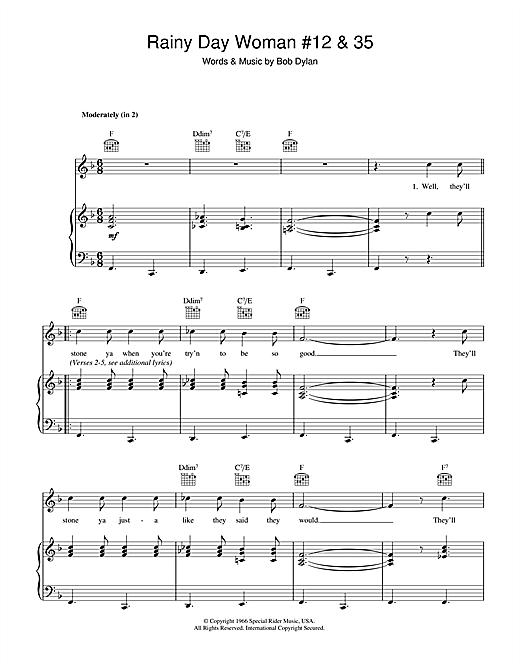 Bob Dylan Rainy Day Woman #12 & 35 sheet music notes printable PDF score