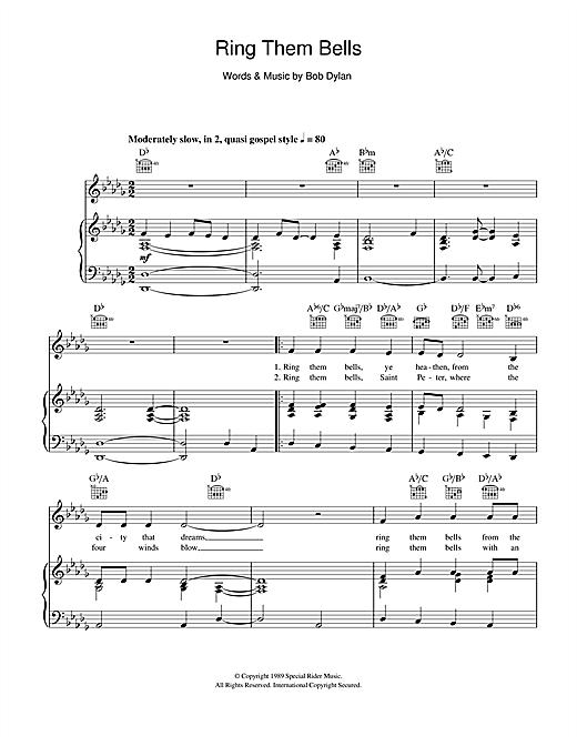 Bob Dylan Ring Them Bells sheet music notes and chords. Download Printable PDF.