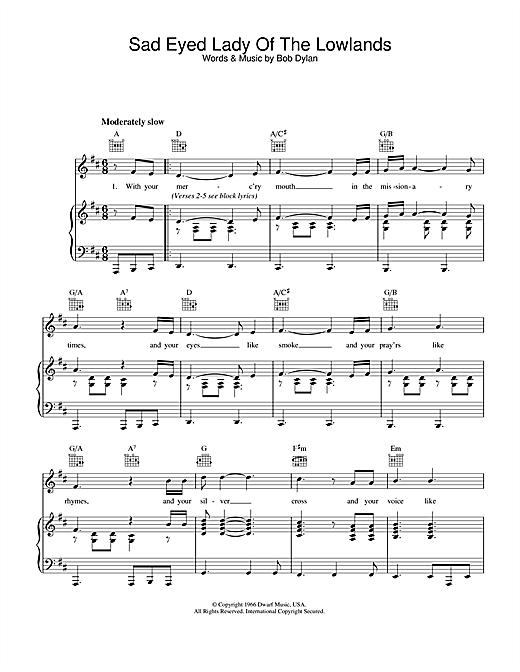 Bob Dylan Sad Eyed Lady Of The Lowlands sheet music notes printable PDF score