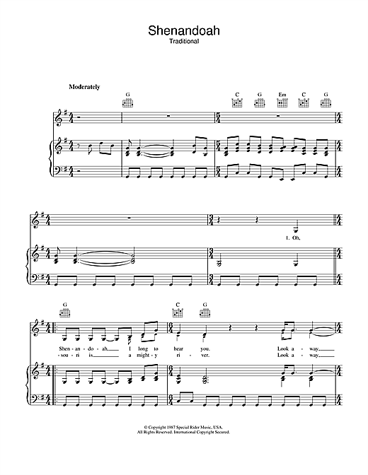 Bob Dylan Shenandoah sheet music notes printable PDF score
