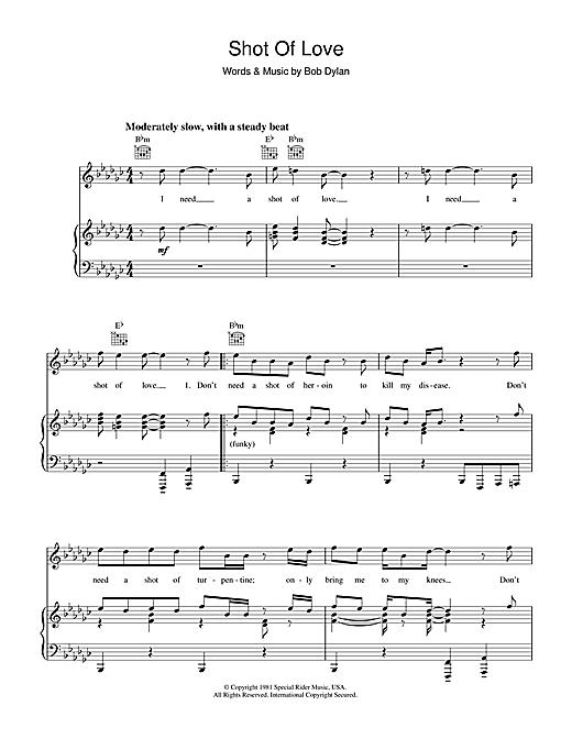 Bob Dylan Shot Of Love sheet music notes printable PDF score