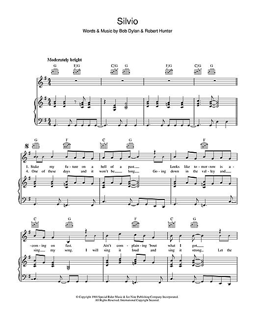 Bob Dylan Silvio sheet music notes printable PDF score