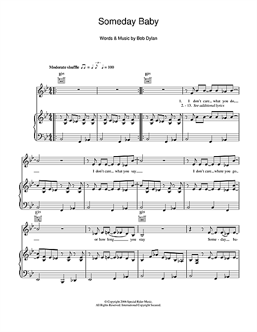 Bob Dylan Someday Baby sheet music notes and chords. Download Printable PDF.