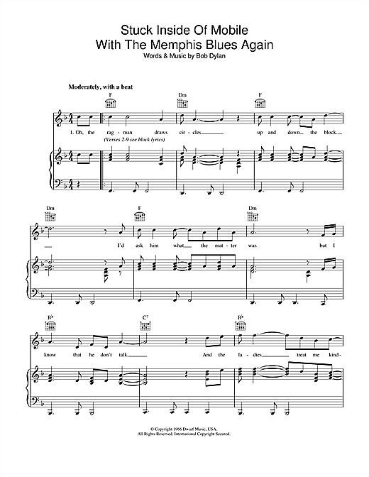 Bob Dylan Stuck Inside Of Mobile With The Memphis Blues Again sheet music notes printable PDF score