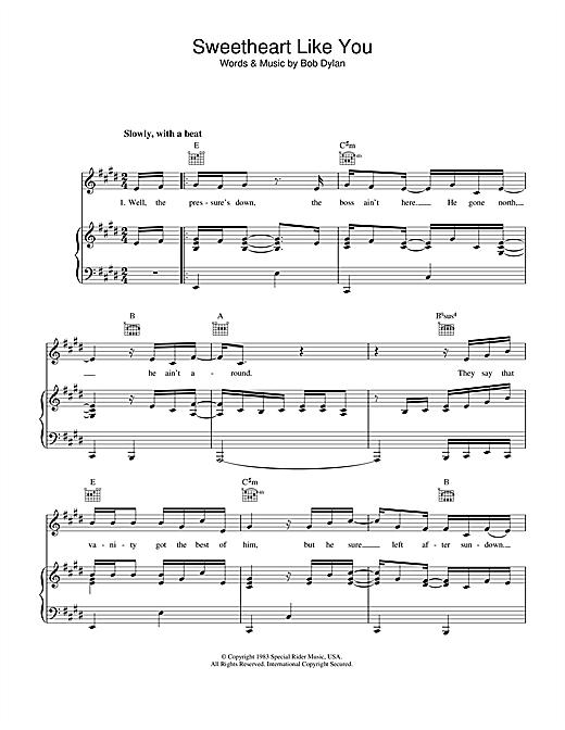 Bob Dylan Sweetheart Like You sheet music notes printable PDF score