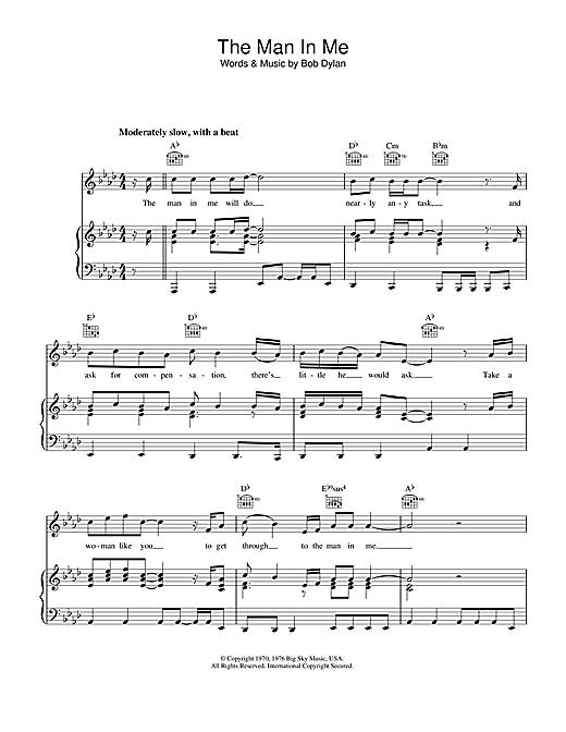 Bob Dylan The Man In Me sheet music notes printable PDF score