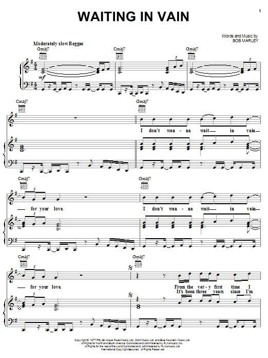Bob Marley Waiting In Vain sheet music notes and chords. Download Printable PDF.