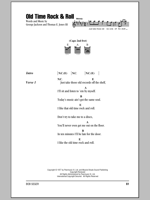 Bob Seger Old Time Rock & Roll sheet music notes and chords. Download Printable PDF.