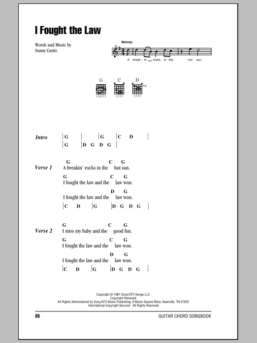 Bobby Fuller Four I Fought The Law sheet music notes and chords. Download Printable PDF.