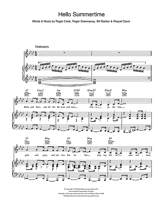 Bobby Goldsboro Hello Summertime sheet music notes and chords. Download Printable PDF.