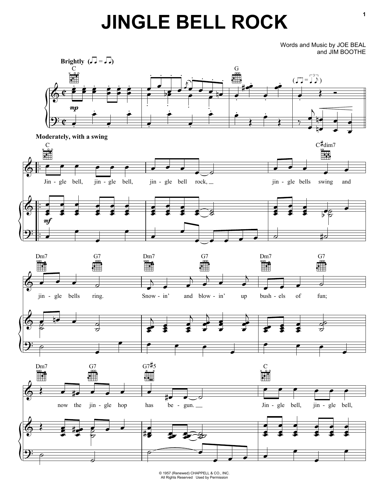 Bobby Helms Jingle Bell Rock sheet music notes and chords - download printable PDF.