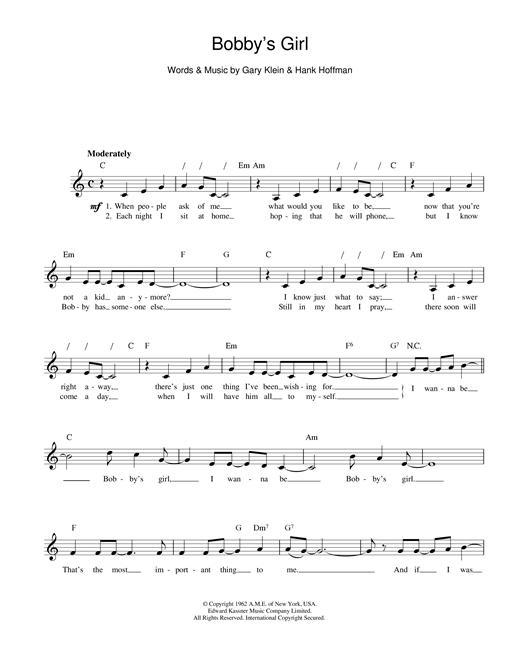 Marcie Blane Bobby's Girl sheet music notes printable PDF score