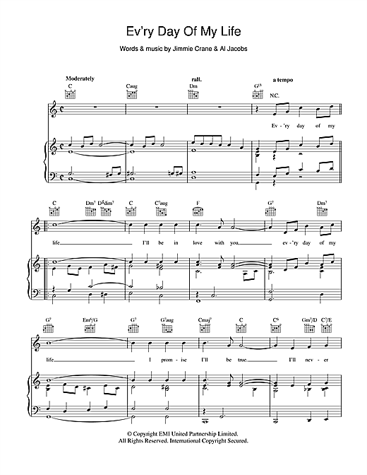 Bobby Vinton Ev'ry Day Of My Life sheet music notes and chords. Download Printable PDF.